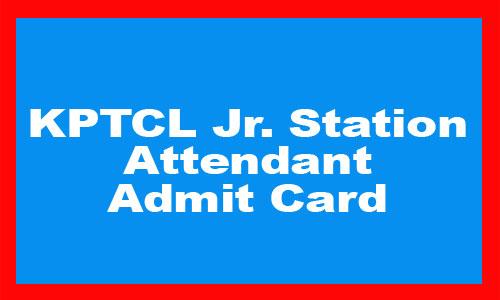 KPTCL Jr Station Attendant Admit Card