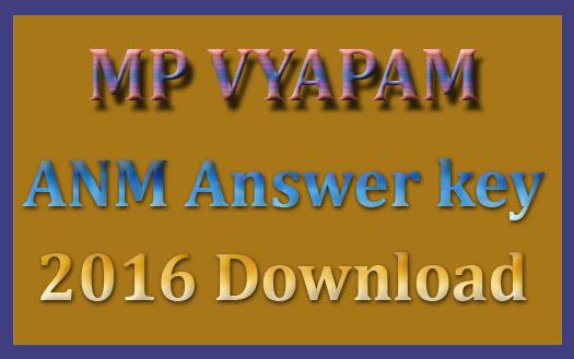 MP ANM answer sheet 2016