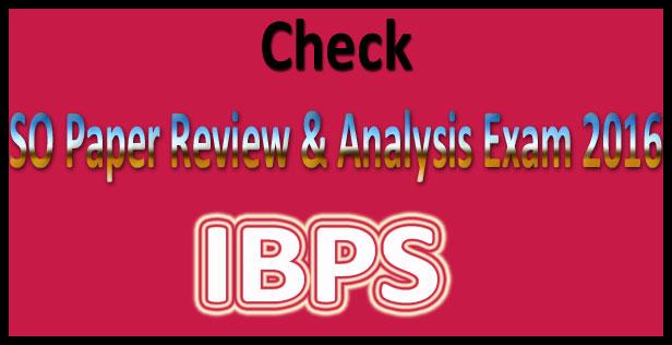 IBPS SO analysis 2016