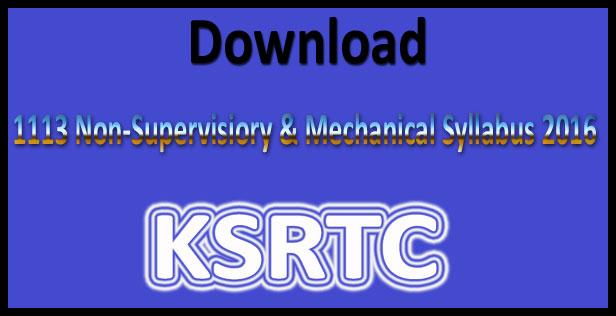 KSRTC syllabus 2016