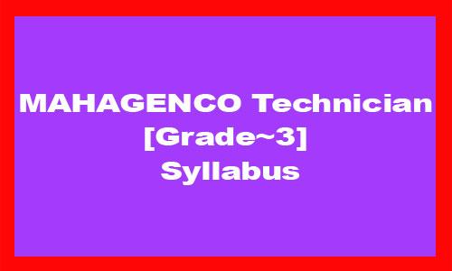 MAHAGENCO Technician Grade 3 Syllabus